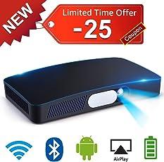 Mini Beamer DLP Projektor 3000 Lumens Unterstützung 1080P Full HD 200in Multimedia Heimkino Mit 8000mAh Akku Android HDMI TF WIFI AirPlay Bluetooth USB Automatisch Keystone Digitale Fokussierung