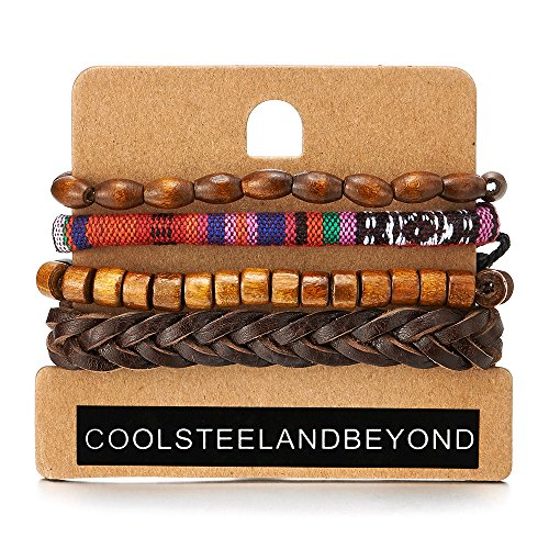Mischen von 4 Braun Wickeln um Strap Armband Herren Damen, Multi-Strang Leder Baumwolle Perlen Holz, Ethnischen (Armband Multi Perlen)