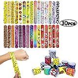 Scoolr 30pcs Slap Bands Slap Bracelets Party Bag Fillers for Kids Snap Bands Party Favours