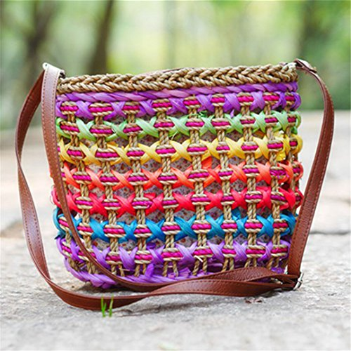 Holiday Damen Tasche (Frauen Rattan Handtaschen Weibliche Stroh Taschen Hohle Handgemachte Webart Dame Shoulder Bag Holiday beiläufiger Strand SS3179 Purple)