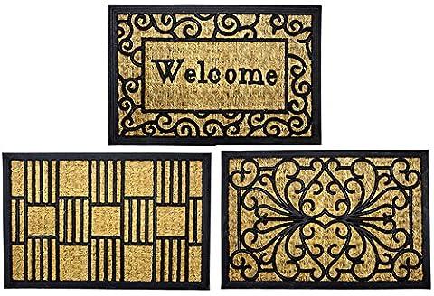 Fußmatte Kokosfußmatte Gummi Türmatte rechteckig garten Eingangsbereich (welcome)