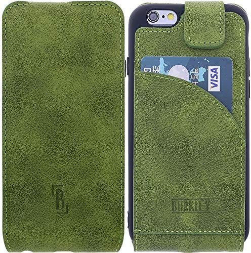 Burkley Lederhülle geeignet für Apple iPhone 6 / 6S Hülle Handyhülle - Schutzhülle Flip Cover Case für das iPhone 6 / 6S mit Kartenfach (Antik Grün) - Vertikal Leder Iphone 6 Case
