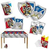 Ritter Motto-Party-Set B 51-teilig für 6 Personen Kindergeburtstag Tischdeko mit Palandi® Sticker