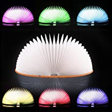 Voberry Upgraded 7 Colors Book Lamp, Rechargeable Folding Book-Shaped Reading Light,Creative Night Light Beside Bed,Desk Table Living Room, Thanksgiving Christmas Birthday Gift Brown