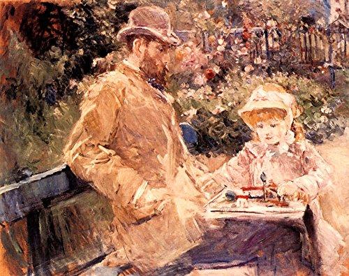 Das Museum Outlet-1881Berthe Morisot Eugene Manet ET SA Fille Dans Le Jardin De Bougival Peinture Huile sur Toile-Leinwand (61x 81,3cm)