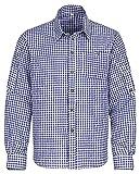 Gloria Wears Trachtenhemd für Trachten Lederhosen Freizeit Hemd rot,balu,Grun-kariert Gr. S-XXXL (L, Blau)