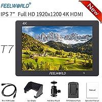 """Feelworld T7 Caméra Monitor 7"""" 4K HDMI Ultra HD 1920x1200 Champ Vidéo LCD IPS écran 1200:1 Contraste élevé pour CAM Steady, DSLR Rig, Kit Caméscope, Stabilisateur de Poche"""