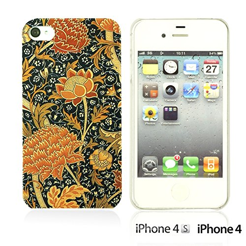 OBiDi - Flower Pattern Hardback Case / Housse pour Apple iPhone 4S / Apple iPhone 4 - Green and Red Rose Floral Art