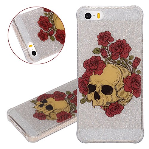 Custodia iPhone 5/5S, ISAKEN Cover per Apple iPhone 5 5S SE [TPU Shock-Absorption] - Glitter Farfalle Design Custodia Case Ultra Sottile TPU Morbido Protettiva Cassa Bumper - Glitter Farfalle blu Cranio rose
