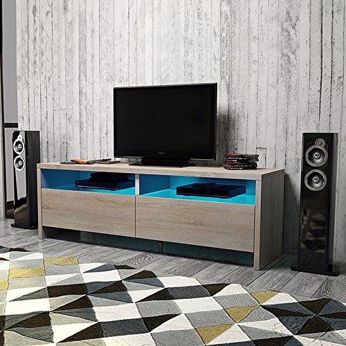Selsey Poland Dione Lowboard/TV-Bank/Fernsehschrank (100 cm, Sonoma Eiche Matt, LED in Blau), MDF board, Braun, 100 x 43 x 36.5 cm