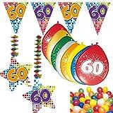 Carpeta 54-teiliges Partydeko Set * Zahl 60 * für Mottoparty oder 60. Geburtstag mit Girlande, Rotorspiralen, Luftschlangen und vielen Luftballons Party Deko sechzig Jubiläum