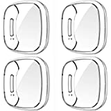 GGOOIG for Fitbit Sense/Versa 3 Screen Protector Case, 4-Pack Soft TPU Plated Slim Full Screen Protective Bumper Cover (Clear