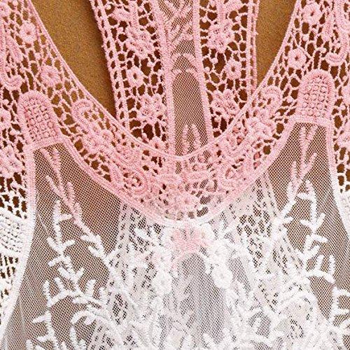 Zeagoo Damen Gradient Spitze Häkelarbeit Höhle Bikini Vertuschung Trägershirt Blusen Strickmode Pink-Schwarz