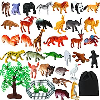 Elcoho 55 Pack Mini Jungle Animals Toys Animals Figures Set Realistic Looking Animals with Zoo Fence and Storage Bag for Kids Party Favors