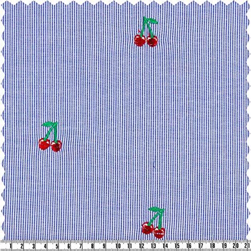 alfa HOME Baumwollstickerei -Streifen, Hellblau/Weiß, Kirschen, ca. 140 cm Breit, Meterware (Kirsche Sehr 2 Stück)