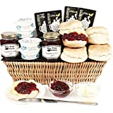 WEST COUNTRY CREAM TEA BASKET HAMPER - English Cream Tea Hampers with Clotted Cream Scones and Fine Jams by Eden4hampers