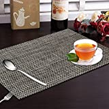 Yellow Weaves 6 Piece Dining Table Placemats / Table Mats - Black-Grey