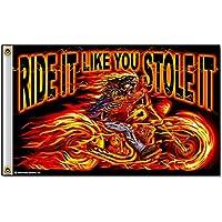 Biker Flag - STREET RIDER SKULL, Ride It Like You Stole It - 3