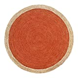Green Decore Handgefertigte geflochtene runde Naturfaser Jute Teppich, Natur (150 cm Durchmesser, Oculus Orange)