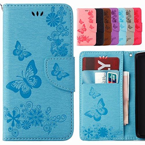 Yiizy Samsung I9190 Galaxy S4 mini / I9190 Coque Etui, Papillon Fleur Design Mince Flip PU Cuir Cover Couverture Rabat Case Coquille Portefeuille Housse Média Stand de Fente pour Carte Bumper Protecteur Skin Poche (Bleu)