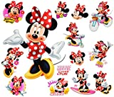 Unbekannt 14 TLG. Set _ Wandtattoo / Sticker + Fensterbilder -  Minnie Mouse  - Wandsticker + Fenstersticker - Aufkleber für Kinderzimmer - Maus Playhouse / Mädchen -..