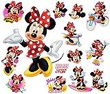 Unbekannt 14 TLG. Set _ Wandtattoo / Sticker + Fensterbilder -  Minnie Mouse  - Wandsticker + Fenstersticker - Aufkleber für Kinderzimmer - Maus Playhouse / Mädchen -..