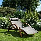 Ampel 24 Relax Liegestuhl Tropica | 100% wetterfeste Gartenliege | vorbehandeltes Holz | mit Armlehnen | Bezug braun -