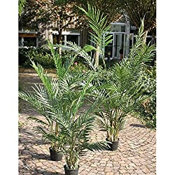 Set 2 x Künstliche Arecapalme im Zementtopf, 25 Wedel, DELUXE, 180cm - Hochwertige Kunstpalme - artplants