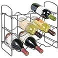 mDesign porte bouteille pour 9 bouteilles de vin, bière, eau – casier à bouteille avec 3 étages pour plan de travail – range