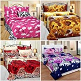 Sky Tex Super Saver Combo Of 4 Multi Color 3D Poly Cotton 140 TC Queen Size Double Bed Sheets With 8 Pillow Covers
