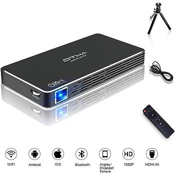 Mini Proiettore, OTHA Portatile Proiettore Video WIFI Smart DLP, Cinema Domestico 1080P Full HD con l'ingresso di HDMI per il iPhone/Android/Gaming/Laptop/TV Box
