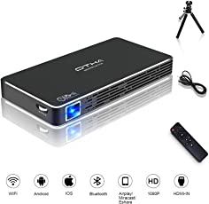 OTHA Mini Projektor Beamer, C800S DLP Video Beamer 100 ANSI Lumens, Portable Wi-Fi Wireless Projector Heimkino 1080P Full HD Kino mit HDMI Ingang für iPhone/Android / Laptop / PS4 (Schwarz)