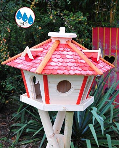 Futterhaus,Vogelhäuser wetterfest, mit Ständer / mit Standfuß und Silo,Futtersilo für Winterfütterung, XXL Vogelvilla Vöglehus groß aus Holz rot mit Ständer SR45roMS Holzschindel - 2