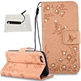 TOCASO iPhone 6 Hülle, Tasche iPhone 6S / iPhone 6 iPhone 6S / iPhone 6 Flip Case Wallet Case iPhone 6S / iPhone 6 Hülle iPhone 6S / iPhone 6 Wallet Case Premium Leder hülle -Schmetterlinge Golden