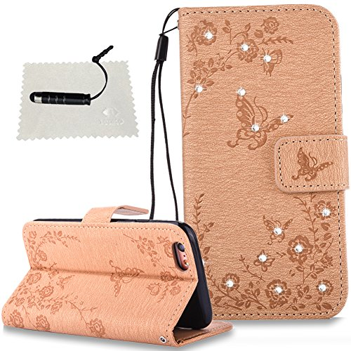 TOCASO iPhone 6 Hülle, Tasche iPhone 6S / iPhone 6 iPhone 6S / iPhone 6 Flip Case Wallet Case iPhone 6S / iPhone 6 Hülle iPhone 6S / iPhone 6 Wallet Case Premium Leder hülle -Schmetterlinge Golden
