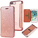 Slynmax Coque iPhone 8 Plus Rose, iPhone 7 Plus Case PU Cuir Paillette Strass...