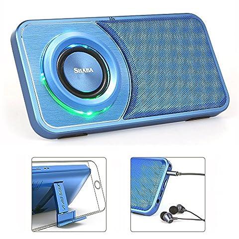 SHABA Portable Bluetooth 4.2 Lautsprecher, Slim Pocket Multifunktionaler mp3 Player Lautsprecher mit Kopfhöreranschluss, FM Radio, eingebauter Mikrofon, USB-Eingang Computerlautsprecher, HD Bass, Unterstützung 3,5 mm AUX Line-In, TF-Karte / Micro SD-Karte für Home, Office & (Kreative Ipod Speaker)