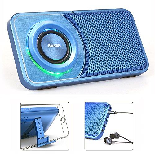 SHABA Portable Bluetooth 4.2 Lautsprecher, Slim Pocket Multifunktionaler mp3 Player Lautsprecher mit Kopfhöreranschluss, FM Radio, eingebauter Mikrofon, USB-Eingang Computerlautsprecher, HD Bass, Unterstützung 3,5 mm AUX Line-In, TF-Karte / Micro SD-Karte für Home, Office & Reisen