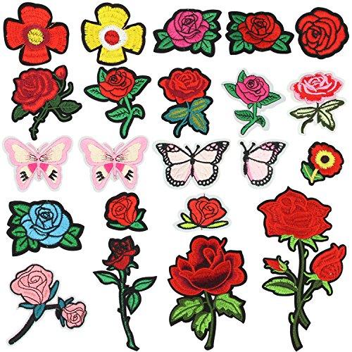 Patches Zum Aufbügeln, Satkago 22 Stück Blumen Aufnäher Applikation Flicken Zum Aufbügeln Kinder Patches Rose für DIY Kleidung T-Shirt Jeans Taschen Hut (Rose Blumen-rock)