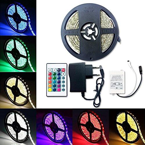 Tiras LED Iluminación 5M RGB 3528 SMD 300 Multicolor Tira de Luz LED IP65 Impermeable Kit (led 1)