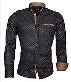 CARISMA Designer Herren-Hemd Navy mit braunbeigefarbigen Applikationen CRM8250 XL