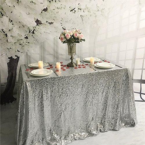 yzeo 228,6x 335,3cm Hochzeit Pailletten Tischdecke-Silber