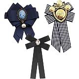 3 Piezas Broches para Mujer Pin Broche de Perlas Broche de Lazo Vintage Broches de Pajaritas Accesorios De Vestir para Bodas,