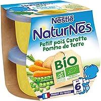 Nestlé Bébé Naturnes Bio Petit Pois Carotte Pomme de Terre Purée de Légumes Dès 6 Mois 2 x 130 g - Pack de 12