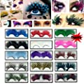 Lookathot 15 Pairs Feather False Eyelashes Eye Lashes- Natural Handmade Reusable Extensional Charming Sexy Funny Ladies Styles- Deluxe Party Stage Dance Costume
