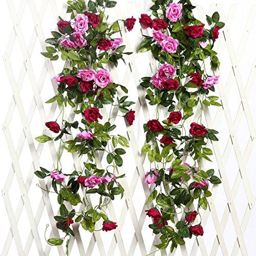 Justoyou, ghirlanda artificiale, decorazione da appendere, rampicante con rose finte, per matrimonio, confezione da 2 magenta