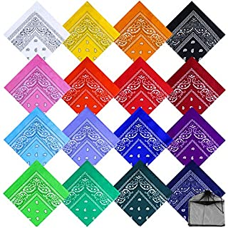 URATOT 16 Pieces Paisley Bandanas Cowboy Bandana Handkerchiefs Paisley Print Head Wrap Scarf, Assorted 16 Colors (Mixed 16 colors A)