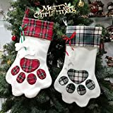 XONOR Christmas Stockings - 2Pcs Large Pet Paw Pattern Hanging Stockings for Christmas Decoration (Blue & Red)