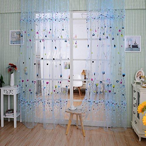 affeco Ballon Tüll Voile Tür Fenster Vorhang Tuch Sheer Volants blau (Fenster Volant Blau)