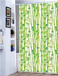 Rideau de douche en polyester avec crochets Motif bambou 90g/m² 180 x 180cm